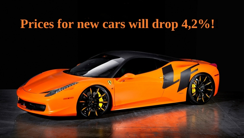 Prices for new cars will drop 4,2%!