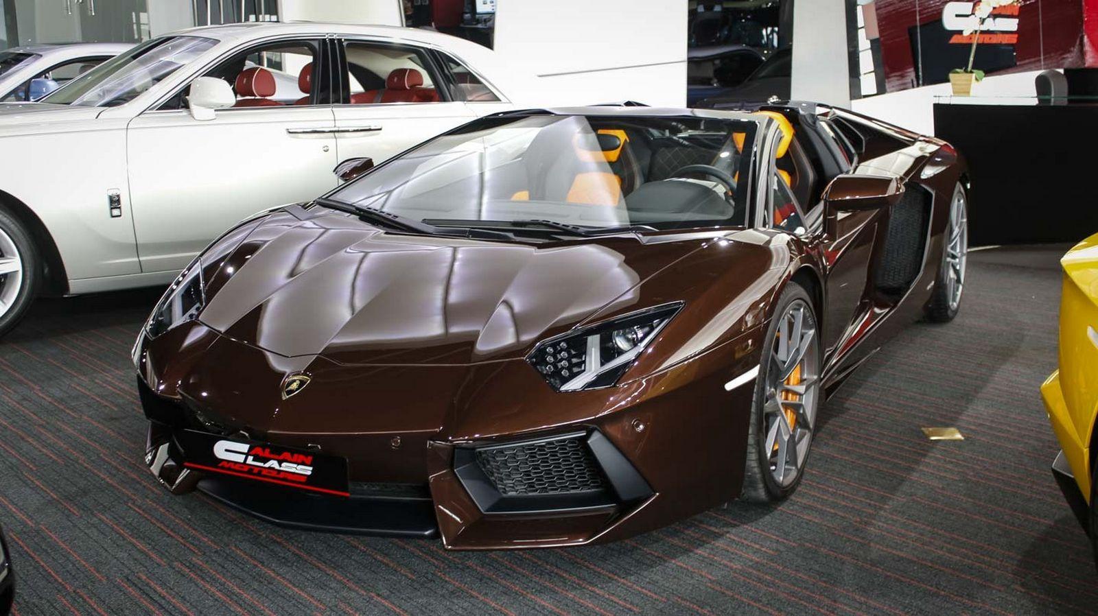 A unique chocolate brown Lamborghini Aventador is for sale in Dubai