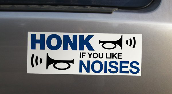bumper stickers, car sticker, fun road, funny road, fun car, funny cars, honk