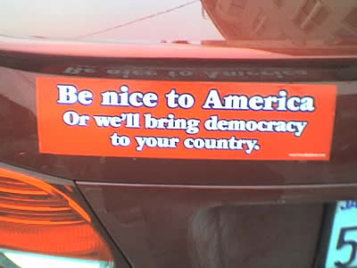 car, car sticker, funny, america, democracy