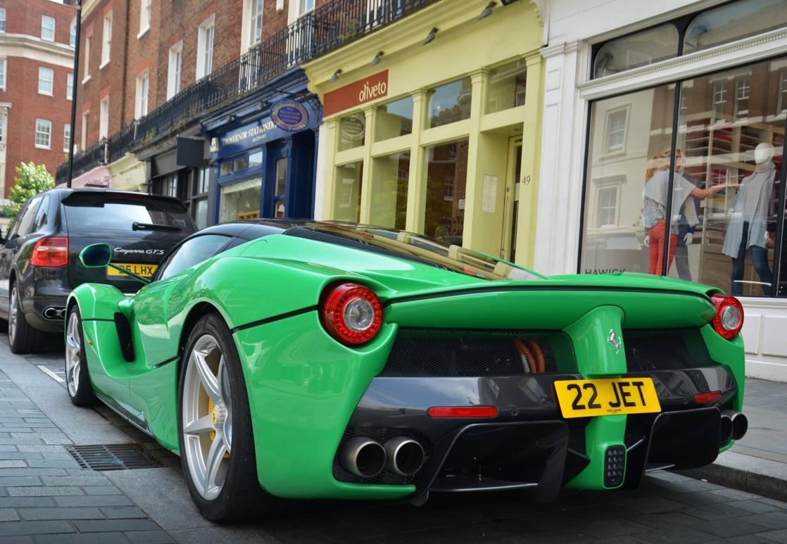 A Spectacular Green Ferrari Laferrari Turns Heads On London Streets