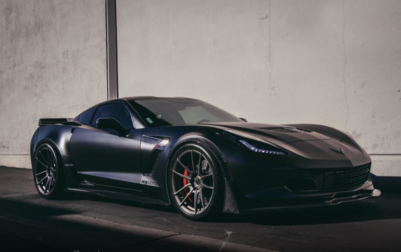 A black tuned Corvette Z06 on black Brixton Forged wheels - a real monster!