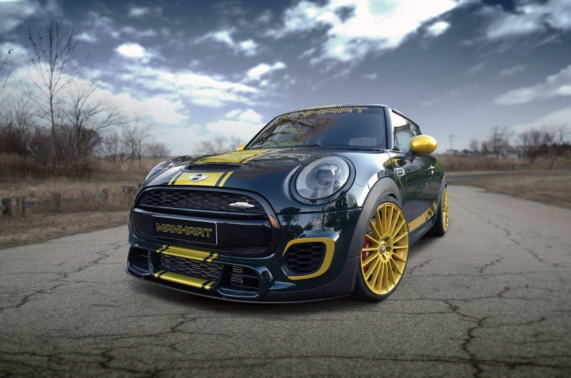 A customized Mini Cooper to celebrate the 30th anniversary of Manhart tuning company