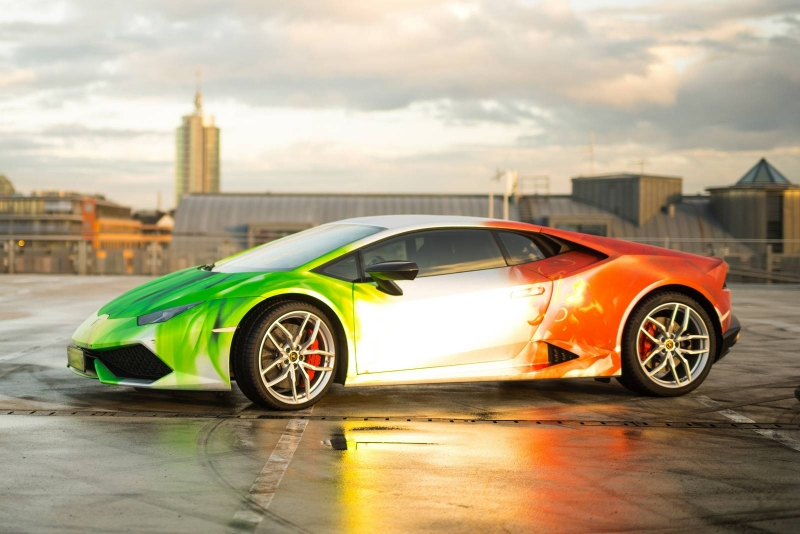 A wrapped tricolour Lamborghini Huracan costs €10,000 more than any other similar model