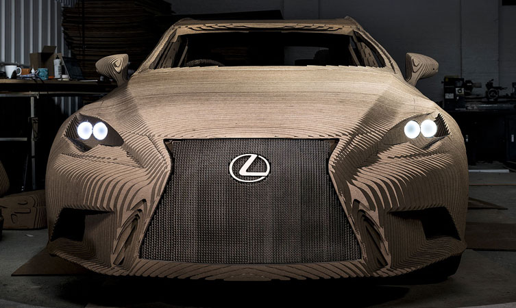 "A 3-D, ""Origami-inspired"" Lexus IS sedan to celebrate the work put in to each vehicle"