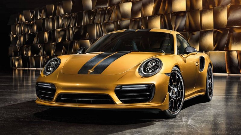 Porsche 911 Turbo S Exclusive Series with a Golden Yellow paint job
