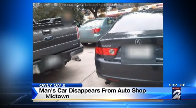 Customer's car was stolen from a repair shop in Houston