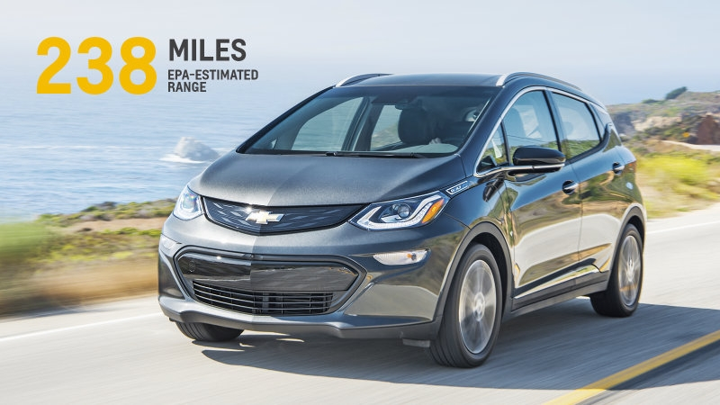 Chevrolet Bolt compact car will be able to go 238 miles on a single charge!