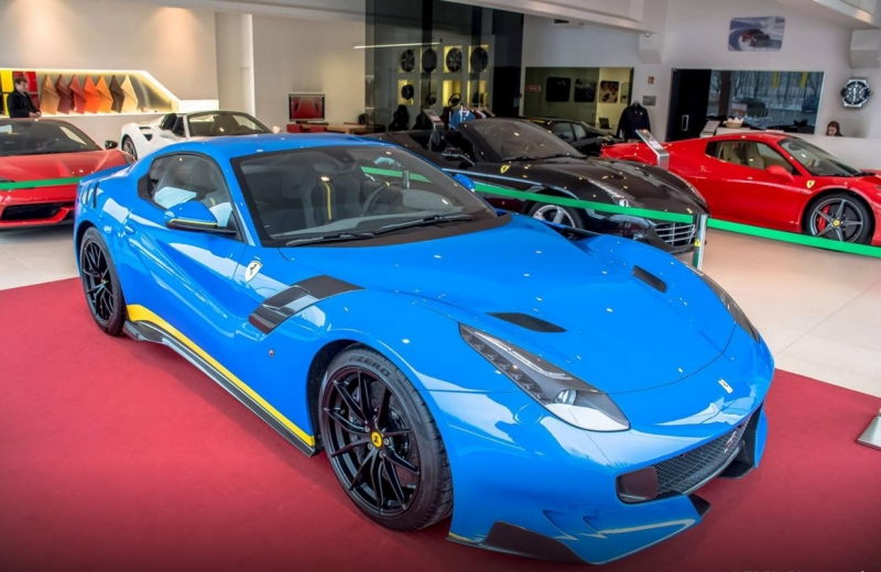 A unique Ferrari F12 TdF painted in Azzurro Dino blue more eye-catching than in red