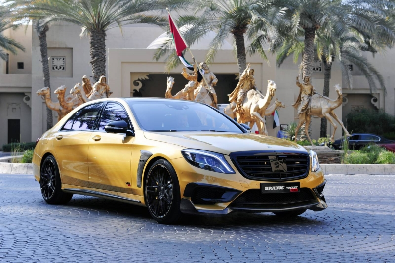 The special Gold Edition of the Brabus Rocket 900 was introduced in Dubai