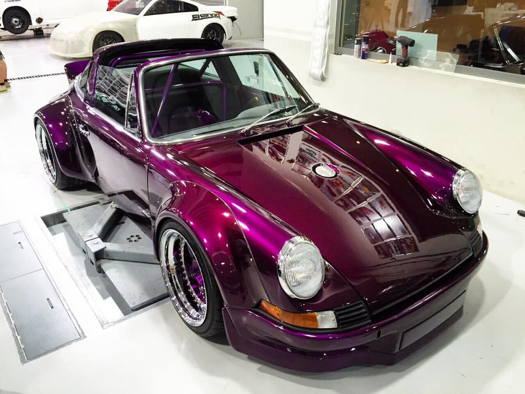 A crazy-looking purple classic Porsche 911s from RWB tuning company
