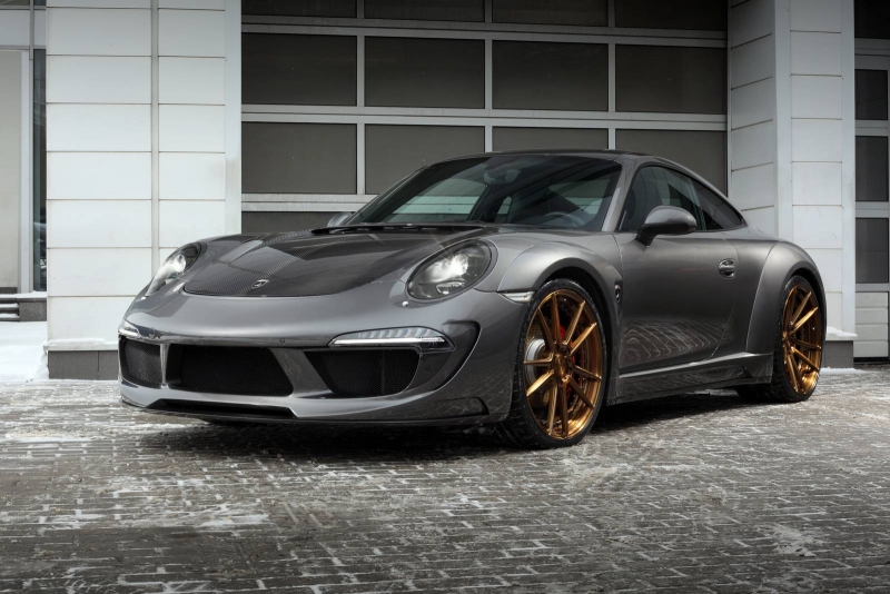An Agate Grey tuned Porsche Carrera 4S Stinger was released by TopCar