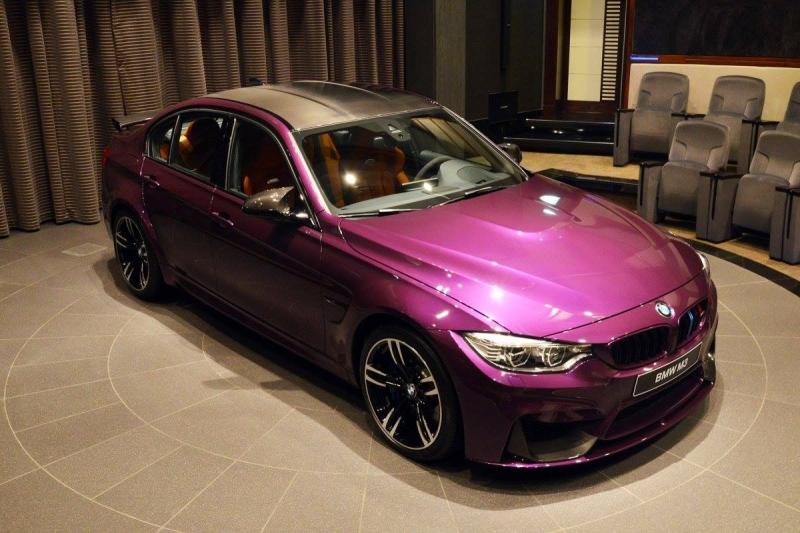A stylish Twilight Purple BMW M3 at Abu Dhabi Motors