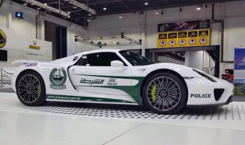 A brand new Porsche 918 Spyder was added to the Dubai Police's fleet of supercars
